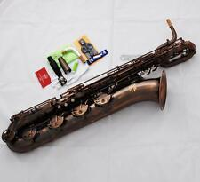 Professional Red Antique Baritone saxophone New TaiShan Bari Sax Engraved bell