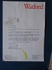 Watford FC Correspondence Letter 1989 - re historical match details.