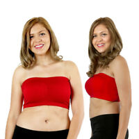 Womens Plus Size Strapless Padded Bra Bandeau Tube Top Removable Pads Seamless