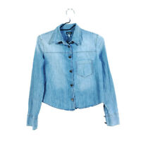 Armani Jeans Denim Button Up Shirt Cropped Blue Women's 4 Long Sleeve Cotton
