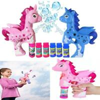 Unicorn Bubble Machine Blower Solution Light Music Party Garden Girl Boy