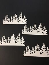 Snowy tree border die cut for cards or scrapbook 4 pirces