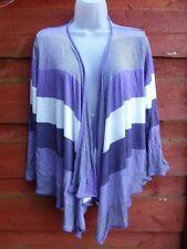 M&S Per Una Open Waterfall Lilac Purple Cream Banded Thin Knit Cardigan UK 16