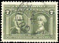Used Canada 1906 7c VF Scott #100 Quebec Tercentenary Issue Stamp