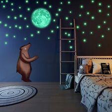 LIDERSTAR Glow in The Dark Stars and Free Removable Full Moon Wall Stickers 2...