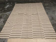 Beige Brown Area Rug Hand Woven Carpet Rug 100% Wool Striped Floor Rug Handmade