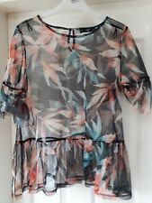 Ladies F&F Top - Size 14 - Black Flowers