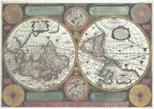 Map of the World Jean Boisseau  Reproduction Map c1658 A3 Size Parchment Paper.
