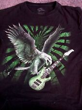 INK INC T SHIRT EAGLE WITH GUITAR BLACK SHIRT WITH GREEN & SILVER IMAGE LARGE