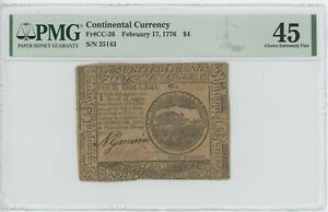 $4 Feburary 17, 1776 Continental Colonial Currency Note. PMG XF45