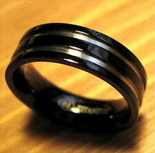 TITANIUM Black Plated RING BAND with Accents, sizes 8, 9, 10, 11, 12, 13