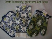 Kitchen Pot Holder Dish Towel Oven Mitt PICK Green Blue Ivory Medallion   T31a