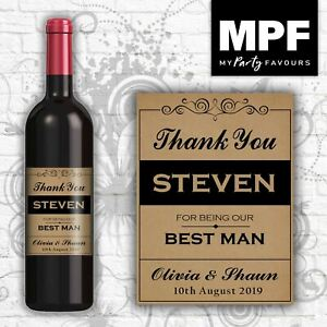 Personalised Wedding 'Thank You' Wine Bottle Label - Perfect Favour/Gift