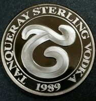 Tanqueray Sterling Vodka Vintage Art Proof  Round Rarity 1oz Silver Coin 999