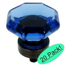 *20 Pack* Cosmas 5268ORB-BL Oil Rubbed Bronze & Blue Glass Cabinet Knob