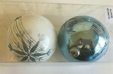2 Turquoise White Snowflake Christmas Shatter Resistant 4 In Ornament Decoratio