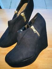 NEW LOOK black FAUX SUEDE HIGH WEDGE PLATFORM SHOE BOOTS size 4