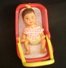 Barbie Happy Family Krissy Brunette Baby Doll + Pink Colour Car Carry Seat Chair
