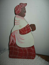 "Black Americana Contemporary Wood Folk Art Shelf Sitter Plaque Signed Ronnie 10"""