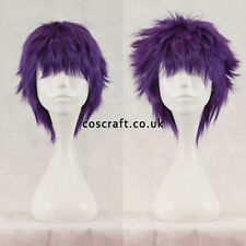 Short layered fluffy spikeable cosplay wig in deep purple, UK seller, Jack style
