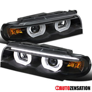 For 1995-2001 BMW E38 740i 750iL Black LED Bar Halo Projector Headlights Lamps
