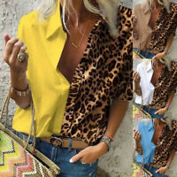 ❤️ Women's Leopard Print Button T Shirt Ladies Casual Loose Pullover Tops Blouse