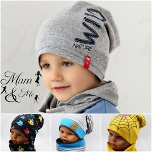 Boys Cotton Hat Scarf Set Spring Autumn Single Layer 2 Piece Kids Toddler Set