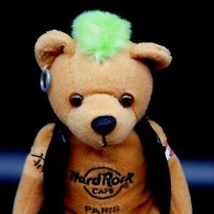 Hard Rock Cafe Paris Beanie Plush Bear Green Mohawk Biker Vest Tattoos Earring