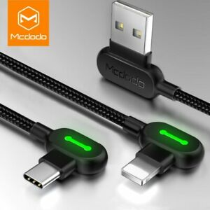MCDODO 90 Degree Right Angle for iPhone Type C Micro Cable Fast Charge 0.5m - 3m