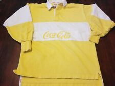 Vintage 80's Coke Coca Cola Rugby Polo Shirt Adult Yellow & White Sz Small