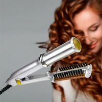 2 In 1 Professional Wet To Dry Hot Rotating Iron Hair Brush Curler Straightener