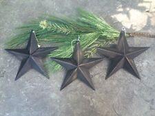 "(Set of 3 ) Distressed ~ BLACK BARN STARS 8"" PRIMITIVE RUSTIC COUNTRY DECOR"