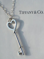 Tiffany & Co Large 2 Inch Heart Key Oval Link Sterling Silver Necklace