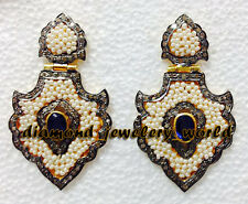 Diamond Gemstone Danglers Earring Jewelry Victorian Estate 2.03cts Pave Rose Cut