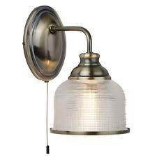 Searchlight Bistro II 1 Light Antique Brass Halophane Glass Indoor Wall Bracket