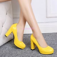 Womens Platform High Heel Sweet Candy Slip On Pumps Party Prom Round Toe Shoes 8