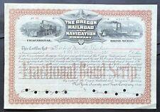 OREGON RAILROAD & NAVIGATION Bond Scrip 1896. Consol. Railroads Steamships. VF++