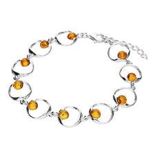 925 Sterling Silver Cognac Amber Bead Circle Bracelet