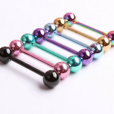 NEW 7pc 14G Surgical Steel Mixed Color Barbell Bar Tongue Ring Stud Piercing Pin