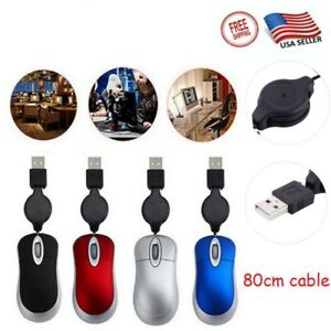 Mini Retractable Cables Wired PC USB Optical Mouse Great For Kids For Computers