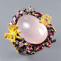 Rose Quartz Ring Silver 925 Sterling Handmade28ct+ Size 8 /R129234