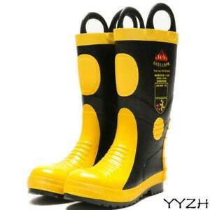 Firefighter Rescue Personnel Waterproof Footwear Anti-corrosion Bunker Boots New