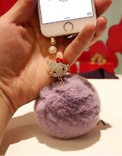 3.5mm Hello Kitty Rex Rabbit Fur Ball Anti-Dust Cap Plug For iPhone SmartPhone L