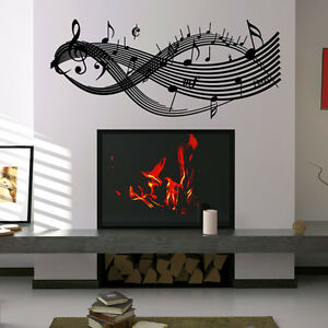 BIG/LARGE CLEF MUSIC NOTES-VINYL WALL DECAL STICKER ART-STUDIO/HOME DECOR/MURAL