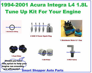 94-01 Acura Integra L4 1.8L Tune Up Kit: Spark Plug, Oil & Fuel Filter PCV O rin