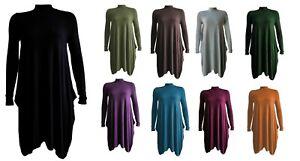 Women's Polo Neck Top Flared Swing Dress Ladies Turtle Neck Hanky Hem Long Dress
