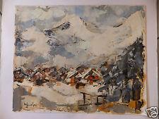 Village de montagne de Urbain Huchet huile sur papier Mountain oïl french artist