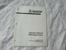 1991 Hesston 8400 auger header operator's manual