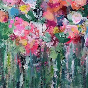 Garden Party Abstract Floral Painting, Original Art Flowers, Home Decor