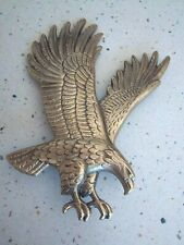 """Vtg R.S. Owens 1990 Pc56 Brass Metal Eagle Plaque Mount Wings Up 8.5""""H x 6.5""""W"""